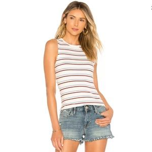 Frame Burnt Henna Stripe 70s Fitted Tank Top
